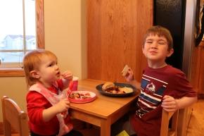 Siblings with sloppy joes